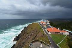 Panorama van de vuurtoren Kaap Byron Nieuw Zuid-Wales australië stock afbeeldingen