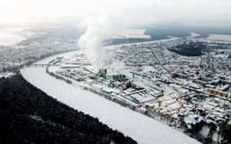 Panorama van de de winterstad De mening van het vogel` s oog royalty-vrije stock fotografie