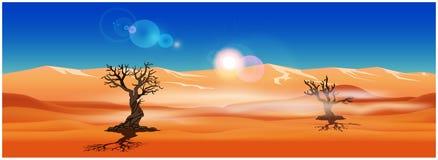 Panorama van de zandige woestijn Royalty-vrije Stock Afbeelding