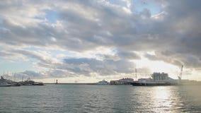 Panorama van de zeehaven van Sotchi, stock footage