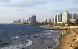Panorama van de zomer Juli van Tel Aviv royalty-vrije stock foto