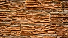 Panorama van decoratieve steen Beweging omhoog het graniet aan het huis Muur van Steen stock videobeelden