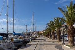 Panorama van Dijk van stad van Argostoli, Kefalonia, Ionische eilanden, Griekenland stock afbeeldingen