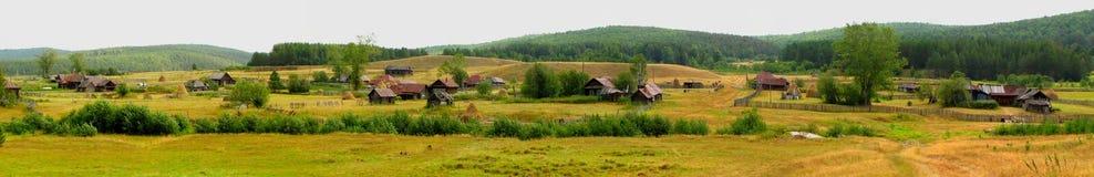 Panorama van dorp met huizen, bos, bergen Stock Fotografie