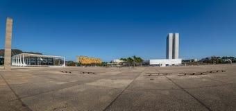 Panorama van Drie Bevoegdheden Plein - Brasilia, Federale Distrito, Brazilië stock afbeelding