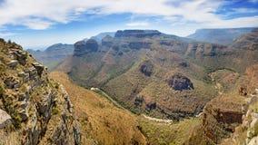 Panorama van Drie Rondavels op de Mpumalanga-Panoramaroute Royalty-vrije Stock Fotografie