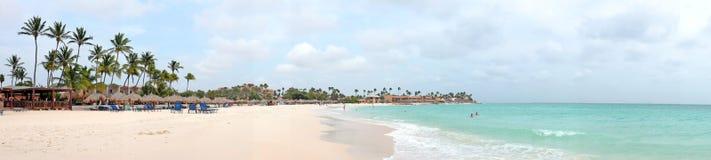 Panorama van Druif-strand op het eiland van Aruba Stock Fotografie