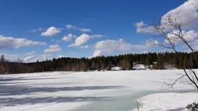 Panorama van een bevroren meer in Noorwegen met huizen in de sneeuw-omcirkelde bomen op een mooie zonnige dag stock videobeelden