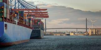Panorama van een containerterminal in de haven van Hamburg stock afbeelding
