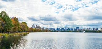 Panorama van een dag van de Central Parkherfst Stock Foto's