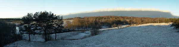 Panorama van een de winterlandschap Royalty-vrije Stock Afbeelding