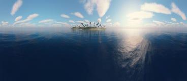 Panorama van een eiland Stock Foto's