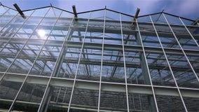 Panorama van een grote glasserre Buiten moderne serres Verschijning van de glas nieuwe serre stock videobeelden