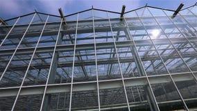 Panorama van een grote glasserre Buiten moderne serres Verschijning van de glas nieuwe serre stock video