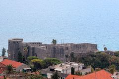 Panorama van een kleine Europese stad in Montenegro Royalty-vrije Stock Afbeeldingen