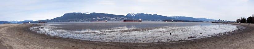 Panorama van een strand Stock Foto