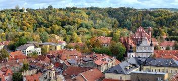 Panorama van een Vilnius de herfstseizoen Royalty-vrije Stock Foto