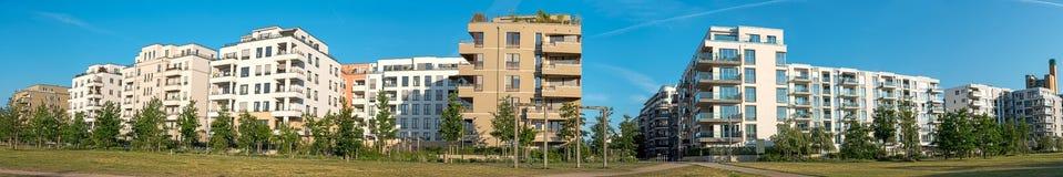 Panorama van een woonwijkgebied Stock Fotografie