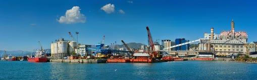 Panorama van eindgenoa port, Italië stock fotografie