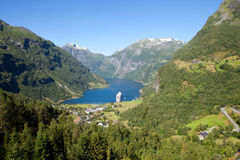 Panorama van fjord Geiranger in Noorwegen Stock Foto