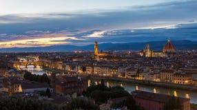Panorama van Florence op een zonsondergang stock afbeeldingen