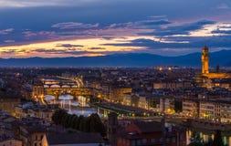 Panorama van Florence op een zonsondergang royalty-vrije stock afbeelding