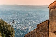 Panorama van Florence van Fiesole Toscanië, Italië stock foto