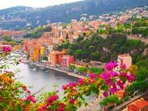 Panorama van Franse Riviera dichtbij stad van Villefranche-sur-Mer, Menton, Monaco Monte Carlo, CÃ'te D ` Azur, Franse Riviera, F Royalty-vrije Stock Foto's