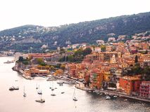 Panorama van Franse Riviera dichtbij stad van Villefranche-sur-Mer, Menton, Monaco Monte Carlo, CÃ'te D ` Azur, Franse Riviera, F Royalty-vrije Stock Afbeelding