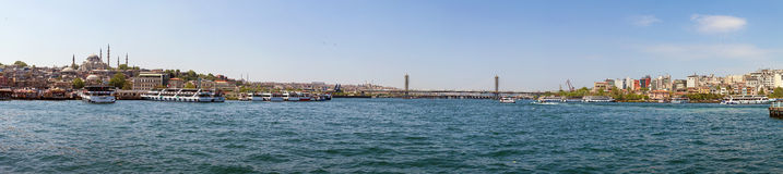 Panorama van Galata Brigde, Istanboel, Turkije Stock Fotografie