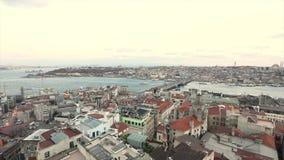 Panorama van Galata-Toren, Turkije Istanboel Panorama van de gezichten van Istanboel stock footage