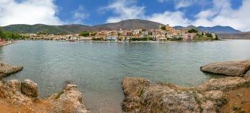 Panorama van Galaxidi, Griekenland Stock Foto's
