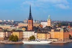 Panorama van Gamla Stan in Stockholm, Zweden royalty-vrije stock foto