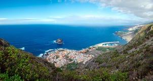 Panorama van Garachico stad, Tenerife royalty-vrije stock foto's