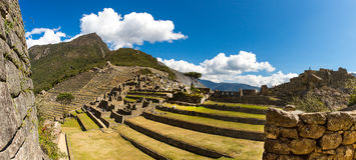 Panorama van Geheimzinnige stad - Machu Picchu, Peru, Zuid-Amerika De Incan-ruïnes stock afbeelding