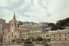 Panorama van Genua stock fotografie