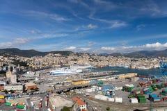 Panorama van Genua stock foto's