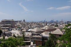 Panorama van Genua in een de zomerdag, Italië stock foto's