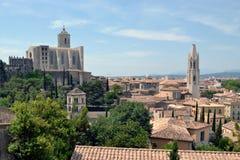 Panorama van Girona in Catalonië, Spanje stock afbeeldingen