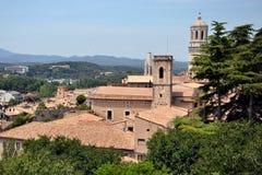 Panorama van Girona in Catalonië, Spanje Stock Foto's