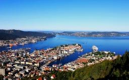 Panorama van golf, Stad van Bergen, Noorwegen Royalty-vrije Stock Foto's