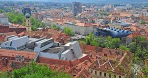 Panorama van Graz de stad in, Stiermarken Royalty-vrije Stock Afbeelding