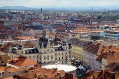 Panorama van Graz met het stadhuis royalty-vrije stock foto's