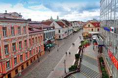 Panorama van Grodno, mening van de belangrijkste voetstraat Stock Foto's
