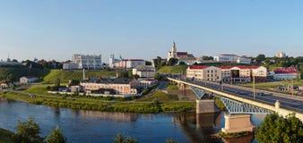 Panorama van Grodno van de binnenstad Wit-Rusland Royalty-vrije Stock Afbeeldingen