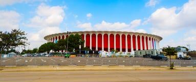 Panorama van Groot Westelijk Forum in Inglewood stock foto