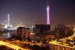 Panorama van Guangzhou bij nacht. Stock Foto