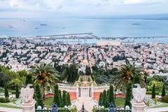 Panorama van Haifa - haven en Bahai-tuin, Israël Royalty-vrije Stock Foto