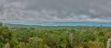 Panorama van Hauraki-golf van Rangitoto-top Nieuw Zeeland stock afbeeldingen