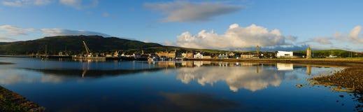 Panorama van haven in Cambeltown, Schotland Stock Foto's